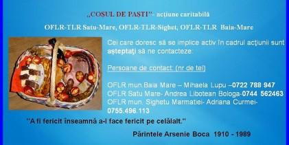 """""""Coşul de Paşti"""", acţiune caritabilă OFLR-TLR Sighet, Baia Mare şi Satu-Mare."""
